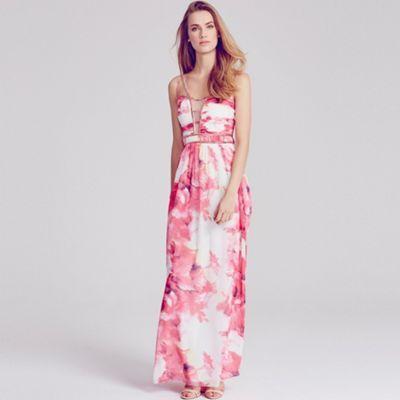 Little Mistress Pink floral embellished strap maxi dress- at Debenhams.com