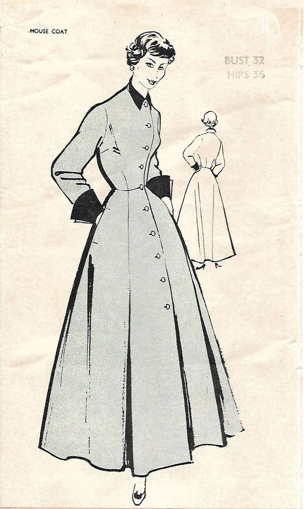 Vintage 1950\'s Sewing Pattern Women\'s House Coat Robe Dressing Gown ...