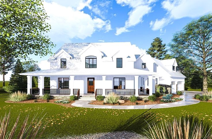 This 2story, Modern Farmhouse plan is highlighted on the