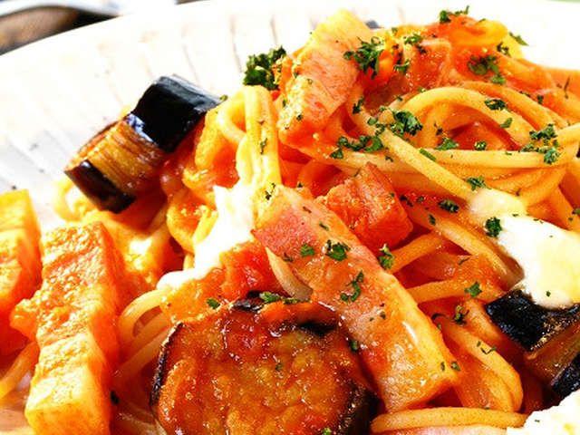 茄子 ベーコンのモッツァレラトマトパスタの画像 パスタ レシピ トマト トマトパスタ パスタ