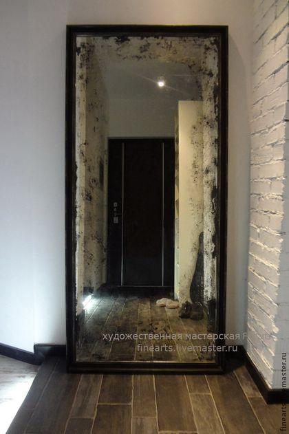 Купить Дизайнерское состаренное зеркало в стиле лофт - черный, зеркало, зеркало в деревянной раме