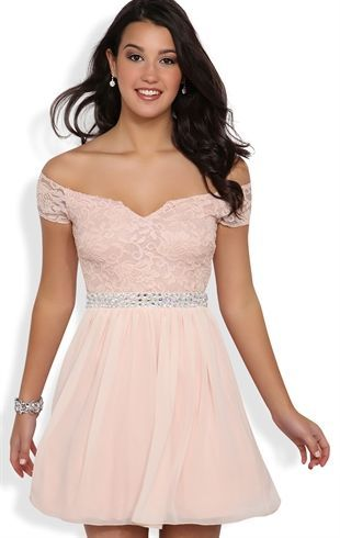 Deb Shops Off the Shoulder Short #Prom #Dress with Stone Trim Waist $72.90