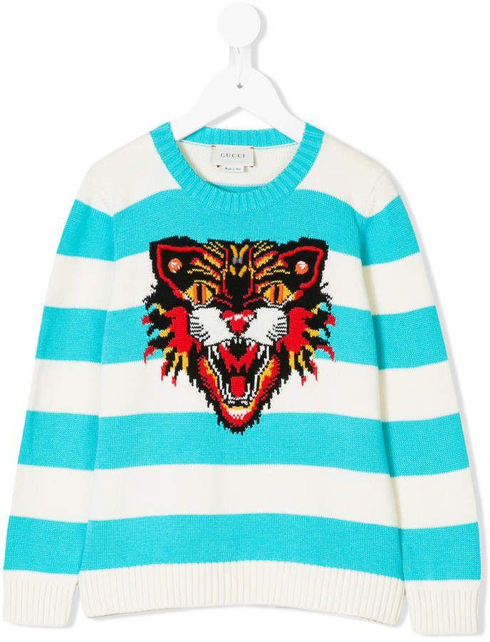 495bd1b4 Gucci Kids Angry Cat-intarsia Striped Sweater | Drawings | Gucci kids,  Sweaters, Angry cat