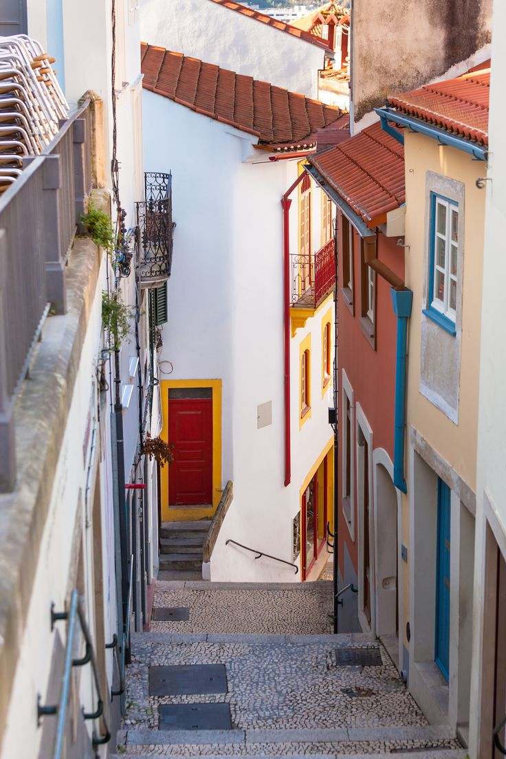 Narrow Street with Stairs in Old Town, Coimbra, Portugal