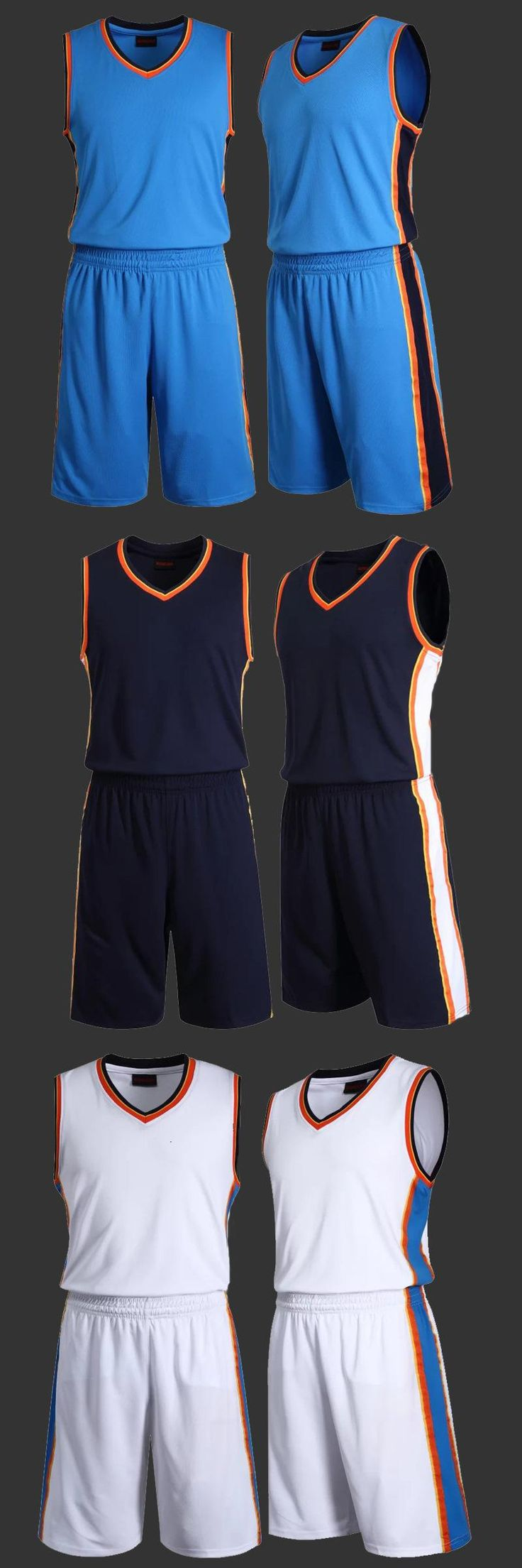 [Visit to Buy] Mens Blank Basketball Jersey Adults Sports Shirt and Shorts Set Team Uniform Training Running Breathable Clothes Plus Size #Advertisement