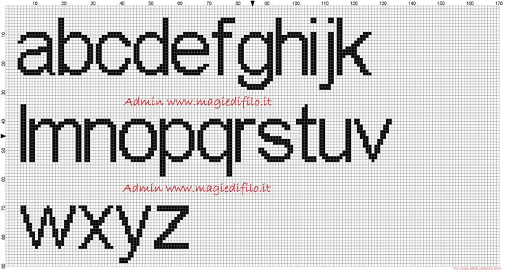 cross stitch alphabet free printable | Alphabet Arial font lowercase height 20 stitches cross stitch pattern ...