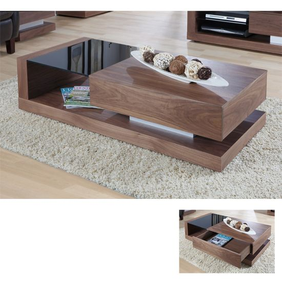 Walnut Black Gl Coffee Table Jf613ct 380 Furniture Infashion Home Decor In 2018 Pinterest Design And Modern Tables