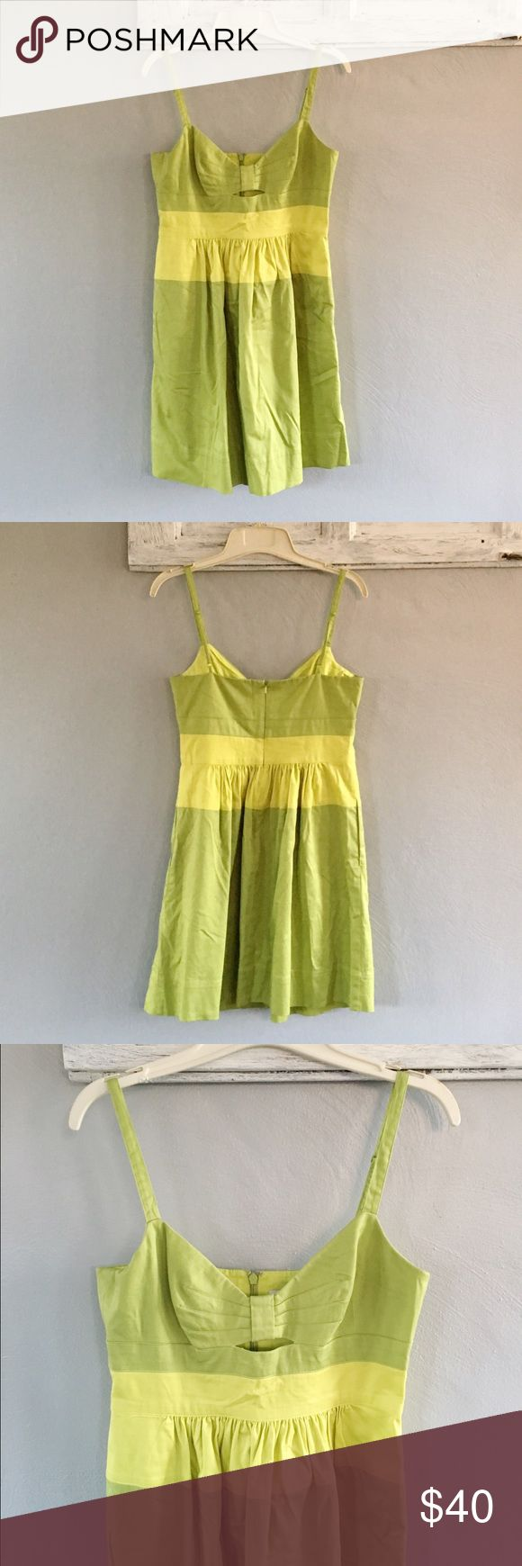 Jessica Simpson lime green color block dress Lime green Jessica Simpson dress. Cute bow bust with small cutout. Great for a night out on the town! Measurements in inches with the garment laying flat •armpit to armpit: 15.5 •waist: 14 •length: 35 bundle with a pair of my earrings to complete the look! Jessica Simpson Dresses Midi