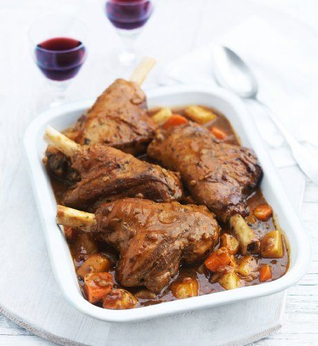 Slow Cooked Lamb Shanks with Honey Roasted Root Vegetables