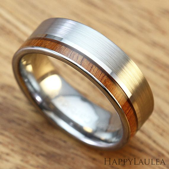 Tungsten Carbide Ring with Hawaiian Koa Wood Inlay (7mm width, flat style, matte finish) This tungsten ring features a Hawaiian koa wood inlay