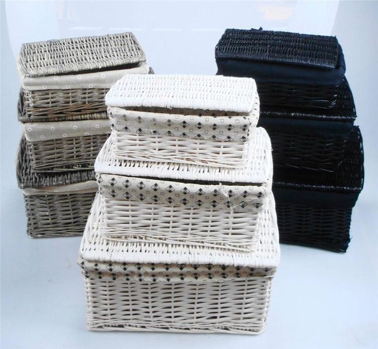 Black White Grey Lidded Wicker Storage Toy Box Empty Xmas Hamper Basket Lining in Home, Furniture & DIY, Food & Drink, Picnics & Hampers | eBay