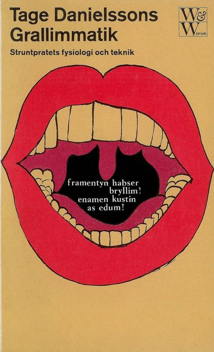 "Book cover by Per Åhlin, 1966, ""Grallimmatik"" by Tage Danielsson."