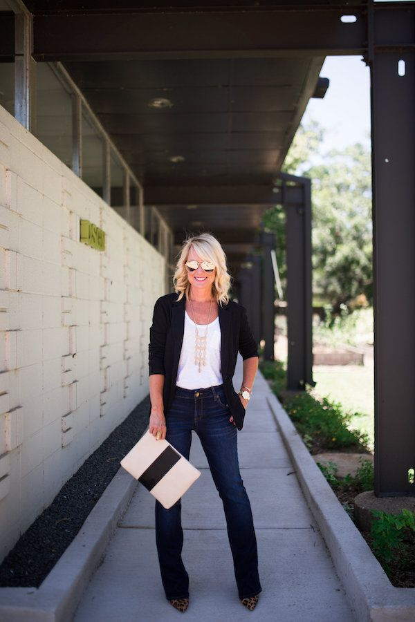 White Caslon Relaxed Slub Knit U-Neck Tee, Black Caslon Knit One-Button Blazer, KUT from the Kloth 'Natalie' Stretch Bootleg Jeans, Kristin Cavallari 'Oracle' half d'Orsay Leopard Pump, Sole Society 'Radcliffe' Faux Leather Clutch, All from Nordstrom's