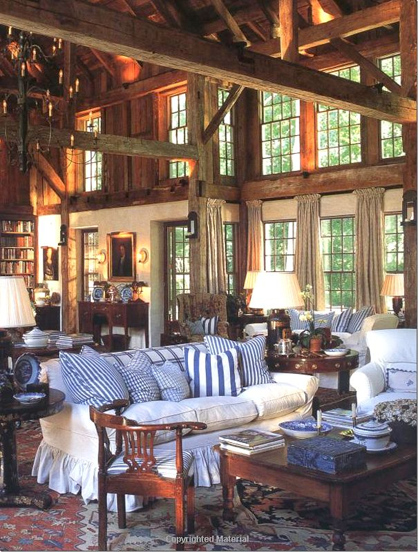 From Chris Madden's Book-Barn Living Room. Cote de texas blog