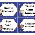 """To go along with your Hollywood themed classroom, here are book basket labels,  There are four labels to a page so each is about 3.75"""" x 5.""""  The l..."""