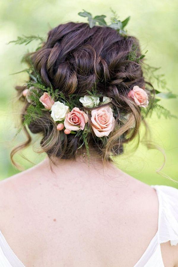 romantic flower wedding updo / http://www.himisspuff.com/bridal-wedding-hairstyles-for-long-hair/38/