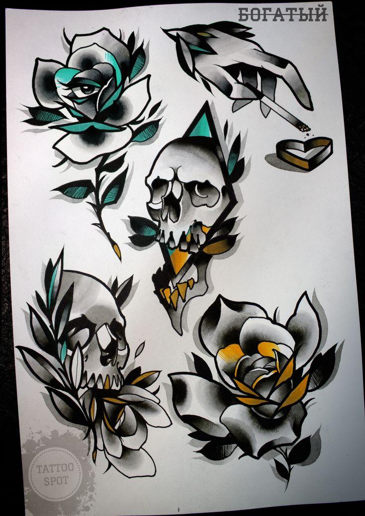 "Tattoo scetch by Evgeny . ""Tattoo Spot"" studio. Saint Petersburg/rose/eyes/scull/heart/hand/bough/broken/"