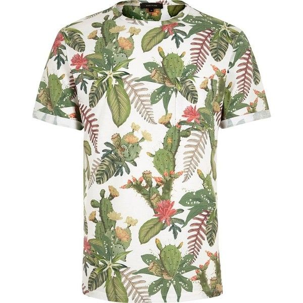 River Island White conversational cactus t-shirt (175 SEK) ❤ liked on Polyvore featuring men's fashion, men's clothing, men's shirts, men's t-shirts, mens slim shirts, mens short sleeve shirts, mens crew neck t shirts, mens slim fit short sleeve shirts and mens white t shirts