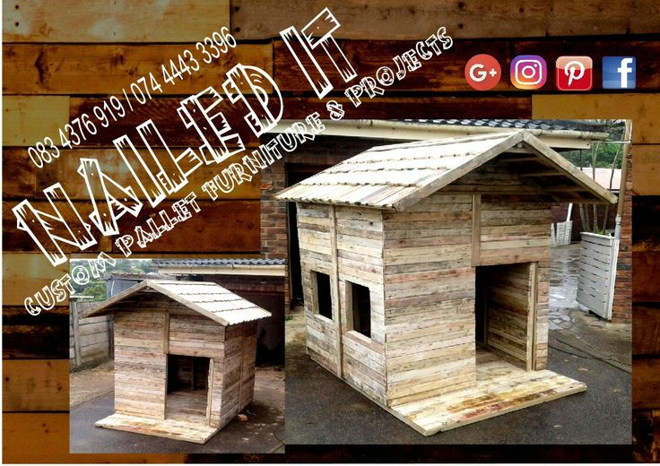 "Kiddies playhouse 1,5m x 1,5m with small porch and ""tiled"" roof.  #naileditpallets #palletfurniture #palletplayhouse #kiddiesfurniture"