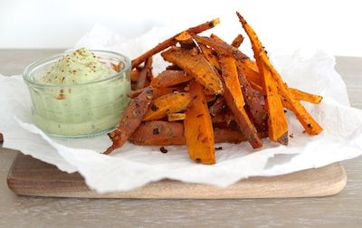Sweet Potato Super Fries with Avocado Cream - The Fit Foodie