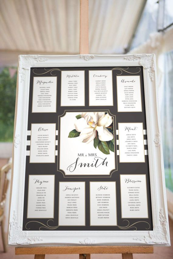 Magnolia Blush Wedding Seating chart, Black White and Pink, Various Sizes, Printable PDF Digital template