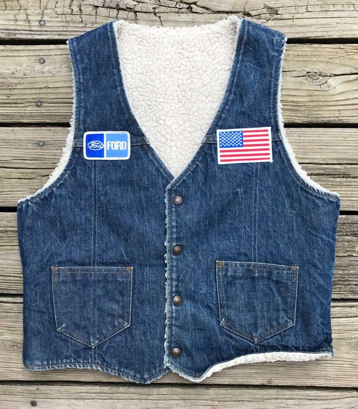 Vintage FORD 80s Weathercaster Sherpa Rockabilly Trucker Denim Jean Vest Men's M #Weathercaster #TruckerBiker