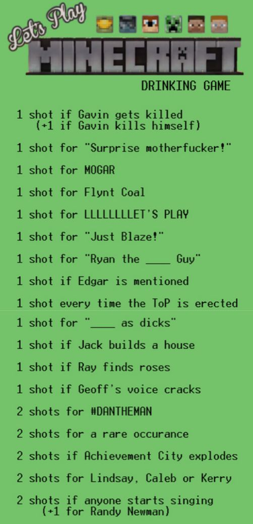 Achievement Hunter Drinking Game: Let's Play Minecraft