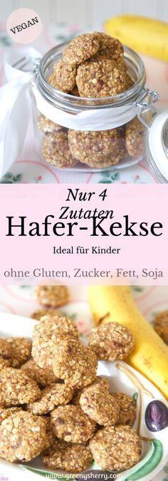 Gesunde Hafer-Kekse - ideal für Kinder (glutenfrei, vegan, sojafrei, zuckerfrei, fettfrei, gesund) von www.greenysherry.com #glutenfrei #vegan #zuckerfrei #hafer #kekse #rezept #diy #foodblog #fettfrei #gesund