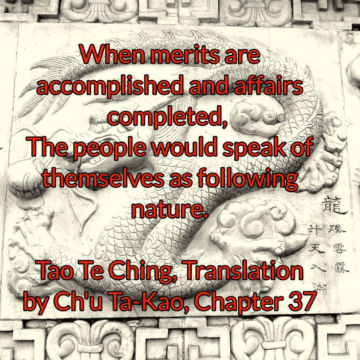 When merits are accomplished and affairs completed,  The people would speak of themselves as following nature.  Tao Te Ching, Translation by Ch'u Ta-Kao, Chapter 37
