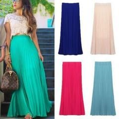 Bohemian Floral Chiffon Pleated Women Maxi Skirt | Daisy Dress for Less | Women's Dresses & Accessories