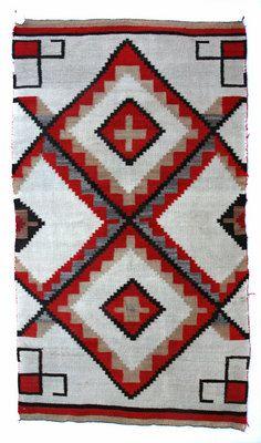 Blankets Navajo,  - Navajo Ganado Transitional Blanket with Partial Water Bugs