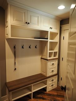 A cute and convenient mud room! See more at: https://www.thehousedesigners.com/plan/cherry-creek-4531/ #houseplan #homeplan #house #cottage #country #homesearch #blueprint #homeideas