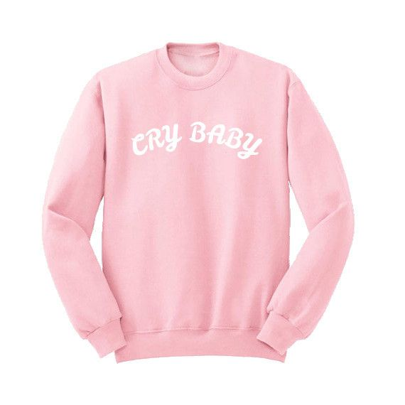 Colthing Women Autumn Winter Harajuku Fashion Letter Printed Cry Baby Hoodies Long Sleeve Crewneck Pink Sweatshirts Pullover