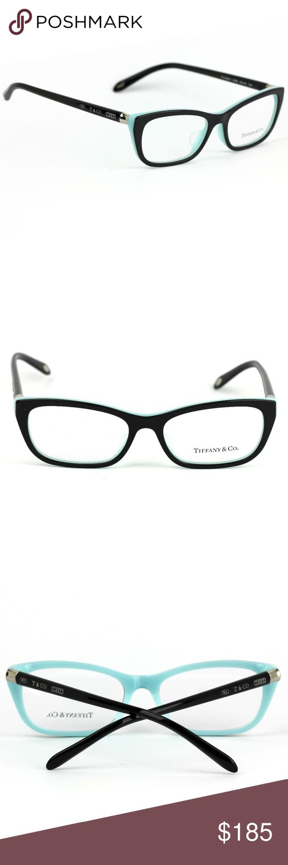 Tiffany & Co 2136 Eyeglasses Black and Blue Frame Tiffany & Co. Cat eye eyeglasses. Black and blue prescription eye frames. Guaranteed authentic. Retail Price: $295.00  New, old stock in excellent condition. Comes with case only. All pictures provided are of the actual item for sale. TEMPLE: 140mm BRIDGE: 16mm LENS: 53mm Tiffany & Co. Accessories Glasses