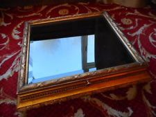 """OLD VINTAGE DISPLAY CABINET CASE jewelry collection 20 """" x  23""""  x 5 """" gold SHOP"""