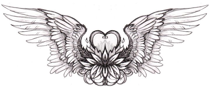 Winged Heart Fire Flame Tattoo Design For Back photo - 5