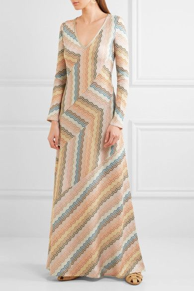 Missoni | Paneled metallic crochet-knit maxi dress | NET-A-PORTER.COM