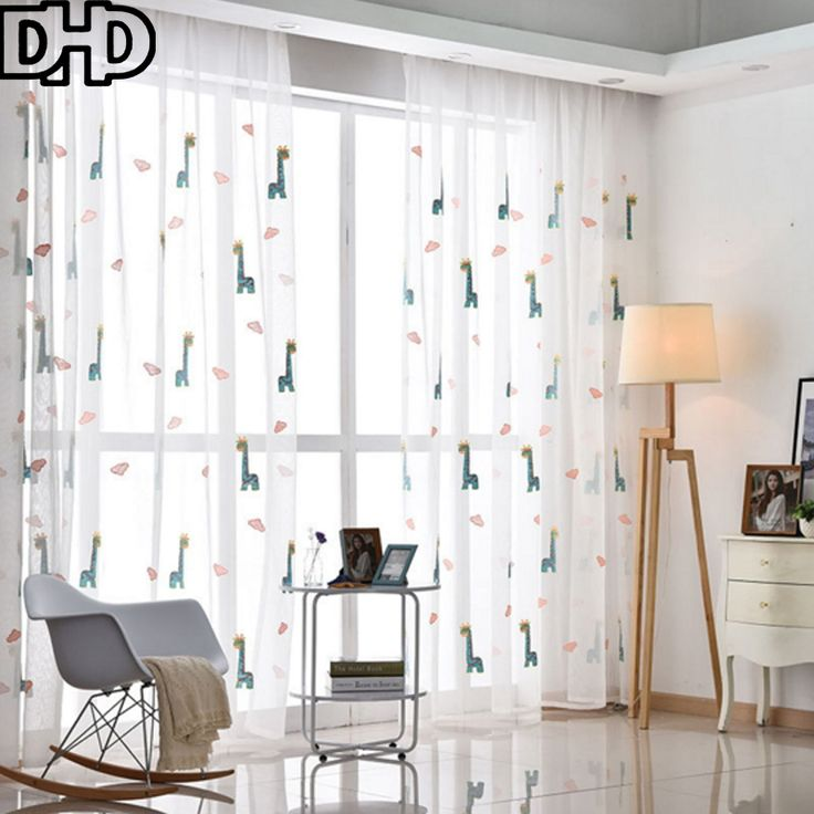 DHD 2017 New Style Deer Curtains For Window Transparent Tulle Living Room Embroidered Voile