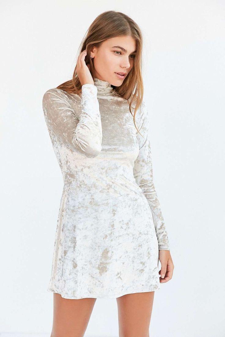 Shop: Kimchi Blue Julie Crushed Ivory Velvet Turtleneck Dress