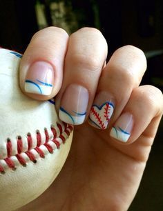 For those of you who are baseball fans #Baseball #Nails | 18 Easy Summer Nail Art for Short Nails