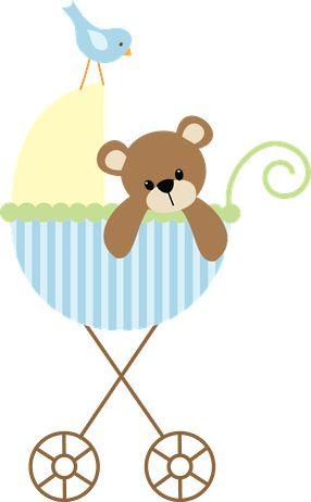 Dibujos - Clipart - Digi stamp - Blue Baby Carriage - Minus