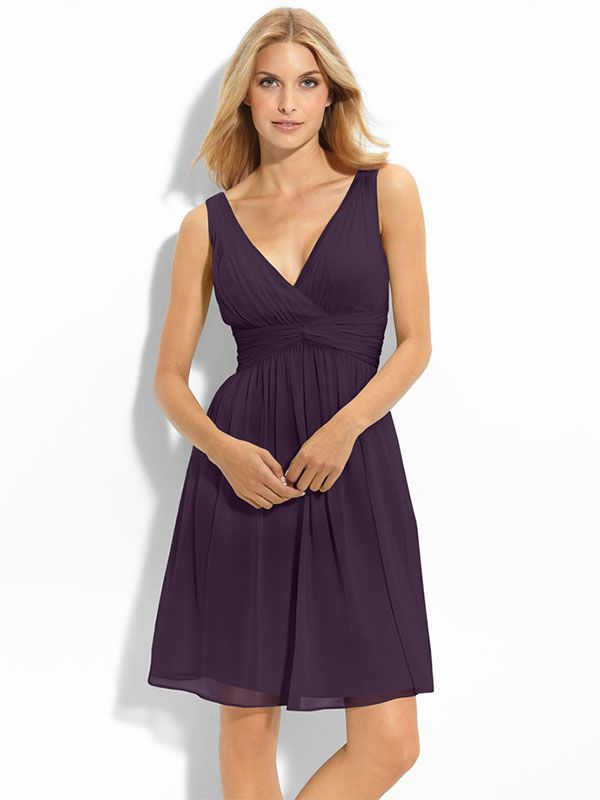 A-line V-neck Chiffon Knee-length Sleeveless Sashes / Ribbons Prom Dresses at bridesmaiddressy.co.uk