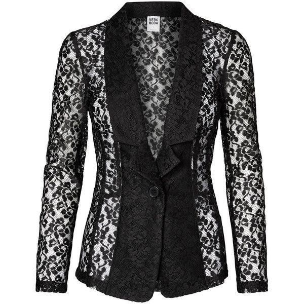 Vero Moda Laced Blazer (325 DKK) ❤ liked on Polyvore featuring outerwear, jackets, blazers, blazer, black, one button jacket, black lace blazer, black jacket, long sleeve jacket and vero moda jacket