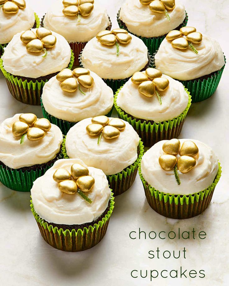 A pour of Guinness (or your favorite stout of choice) keeps this chocolate-y St. Patrick's Day cupcake nice and moist. Arrange gold hearts in the shape of a four-leaf clover to complete the holiday treat.