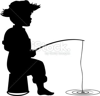 Silhouette of little boy fishing Royalty Free Stock Vector Art Illustration