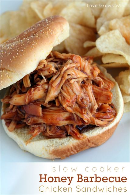 Slow Cooker Honey Barbecue Sandwiches ~ 3 boneless skinless chicken breasts, one 18 ounce bottle Honey Barbecue Sauce (I use Sweet Baby Ray's), 1/2 cup Italian Salad Dressing, 1/4 cup brown sugar, 2 Tablespoons Worcestershire sauce. Cook 6-8 hours on low or 3-4 hours on high.