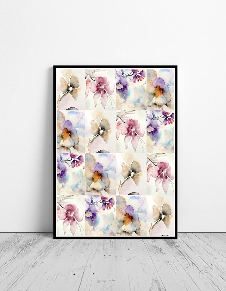 Watercolor flowers wall art, art print, watercolor poster, nature print, modern print, home wall decor, apartment wall art, poster, gift by OnceUponaPaper on Etsy