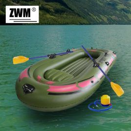 Inflatable High strength PVC Rubber Fishing Boat with Paddles and Pump.
