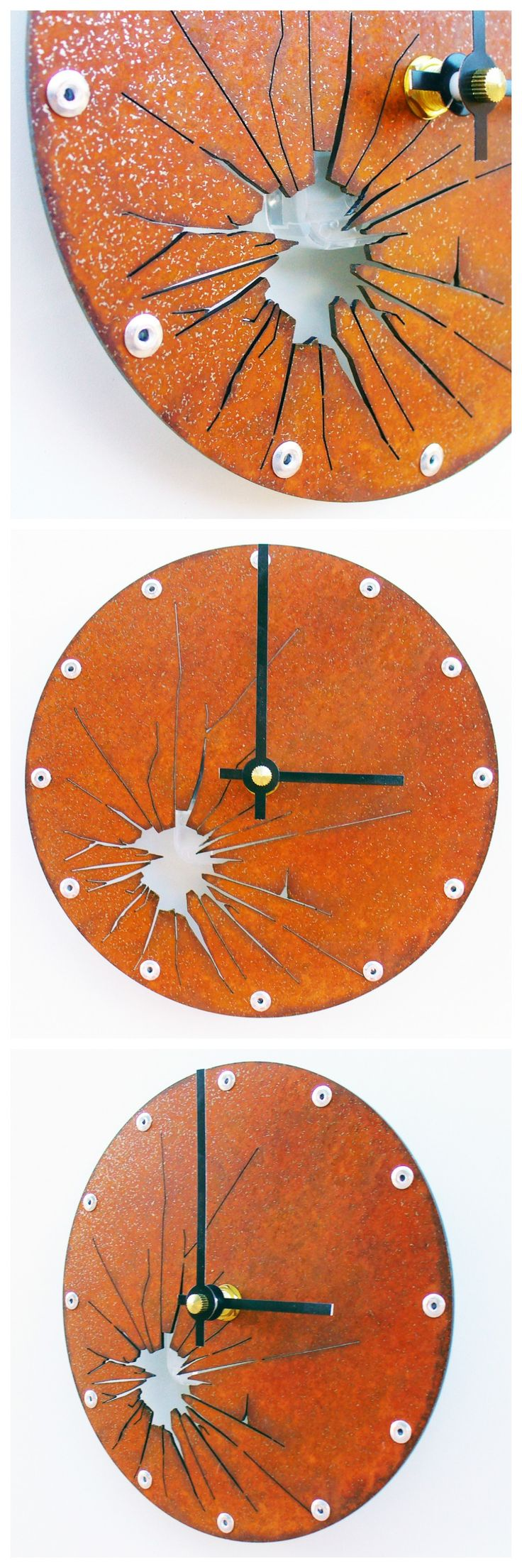 SALE Shattered Metal, Small Wall Clock, Rusted Wall Clock, Modern Wall Clock…