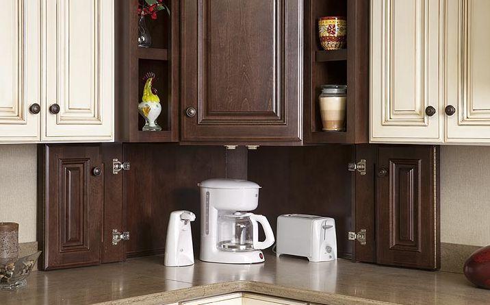 Corner Appliance garage opened | Cabinet, Cabinet ...